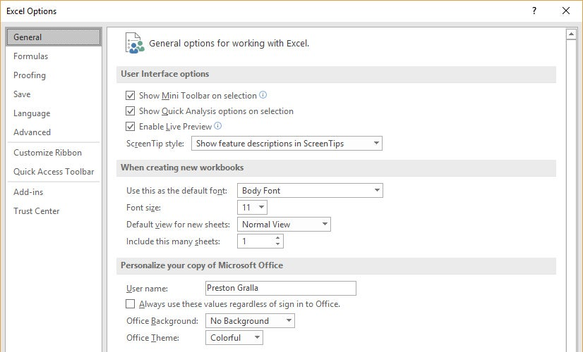 how to change excel office 2016 add an language